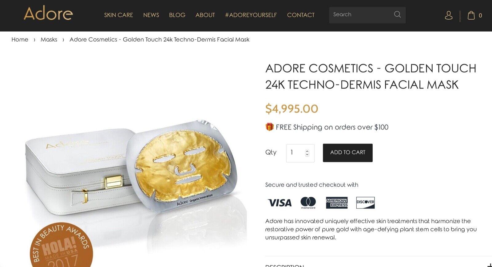 "ADORE 24K ""Golden Touch Techno Dermis"" Facial Masks kit, cas"