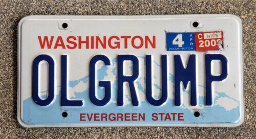 OL GRUMP Personalized Washington State License Plate  OL GRUMP ALPCA