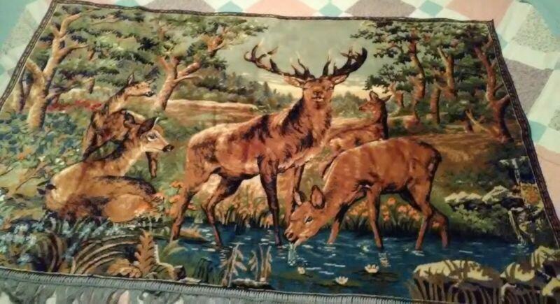 Vtg Deer Family Velvet Tapestry Wall Hanging