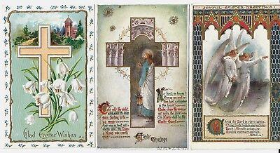 3 Vntge Religious Easter Postcards: Jesus knocking, angels,Cross.