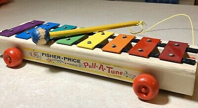 Vintage 1964 Fisher Price Wooden Pull-A-Tune Xylophone Toy #870