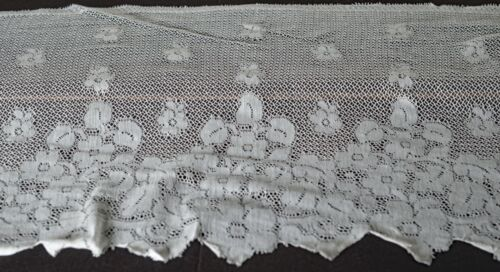 Vintage Wide EMBROIDERED NET LACE Trim 2 Yards