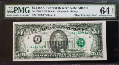 1988A $5 FRN Atlanta 《Full B2F Offset Printing Error》PMG 64 EPQ