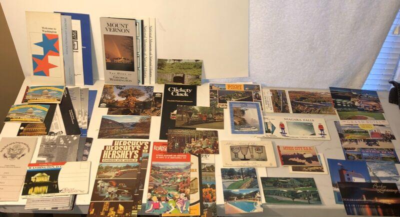 Huge Lot Vtg Misc Post Cards Flyers Maps Guides DC, PA, TN, NY, MI, VA, Disney