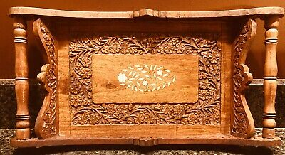 Vintage Wood Serving Tray Intricate Carved Wooden with Inlay Spindle Handles