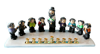 Menorah Rabbi & childern, students, Kids, Marble & Clay, From Israel By Yigal *