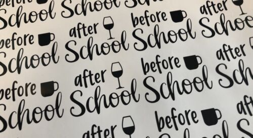 Home Decoration - before school after school wine glass vinyl mug decals x 12