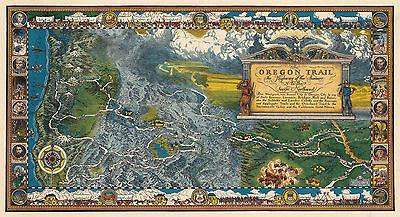 1932 Pictorial Oregon Trail Map Historic Antique Wall Art Poster Print Decor