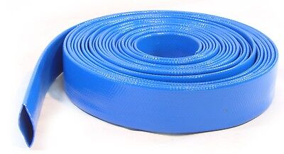 50mm 10 Metres Layflat Water Delivery Hose Discharge Pump Irrigation Blue Tubing