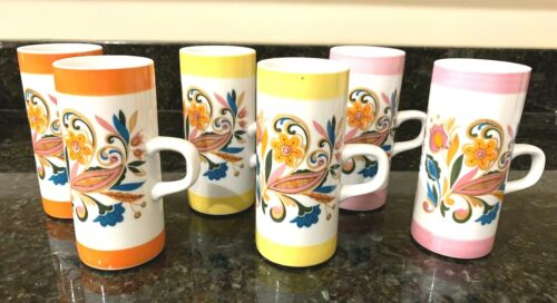 6 Arnart 5th Ave. Psychedelic Coffee/Tea Cups 2 Yellow 2 Pink and 2 Orange
