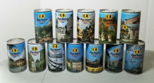 Lot of 12 Tucher Ubersee Export pull tab beer cans 11.3oz from Bavaria, Germany