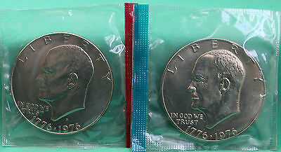 1976 TYPE 1 P  D EISENHOWER DOLLAR COINS FROM US MINT SET BU CELLOS TWO IKE $1