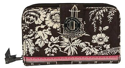 VERA BRADLEY Turnlock Zip Around Wallet In IMPERIAL TOILE Brown Pink Retired!