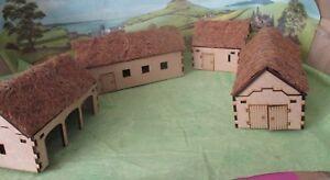 28mm Thatch Farm (4 Buildings) Scenery Medieval Fantasy  Laser Cut MDF 3mm