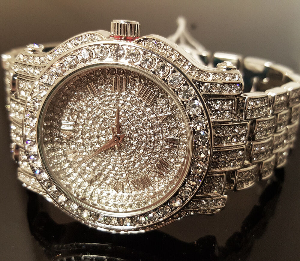 Men Hip Hop Iced White Gold Techno Pave Bling Simulated Diam