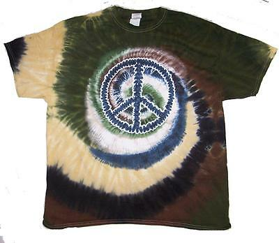 CAMO PEACE SIGN TYE DYED TEE SHIRT mens womens SIZE XLG hippie tie dye t#TDT11 - Tye Dye Peace Sign