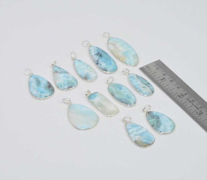 Wholesale 11Pc 925 Sterling Silver Natural Blue Larimar Pendant Lot Gtc156 S665