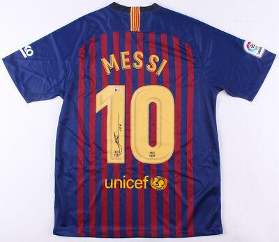 fa176643843 Barcelona Lionel Messi Signed Autographed Soccer Jersey Leo - Beckett BAS  COA
