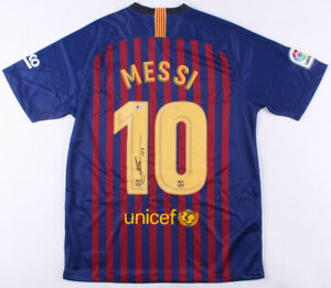 4fbad888e41 Barcelona Lionel Messi Signed Autographed Soccer Jersey Leo - Beckett BAS  COA