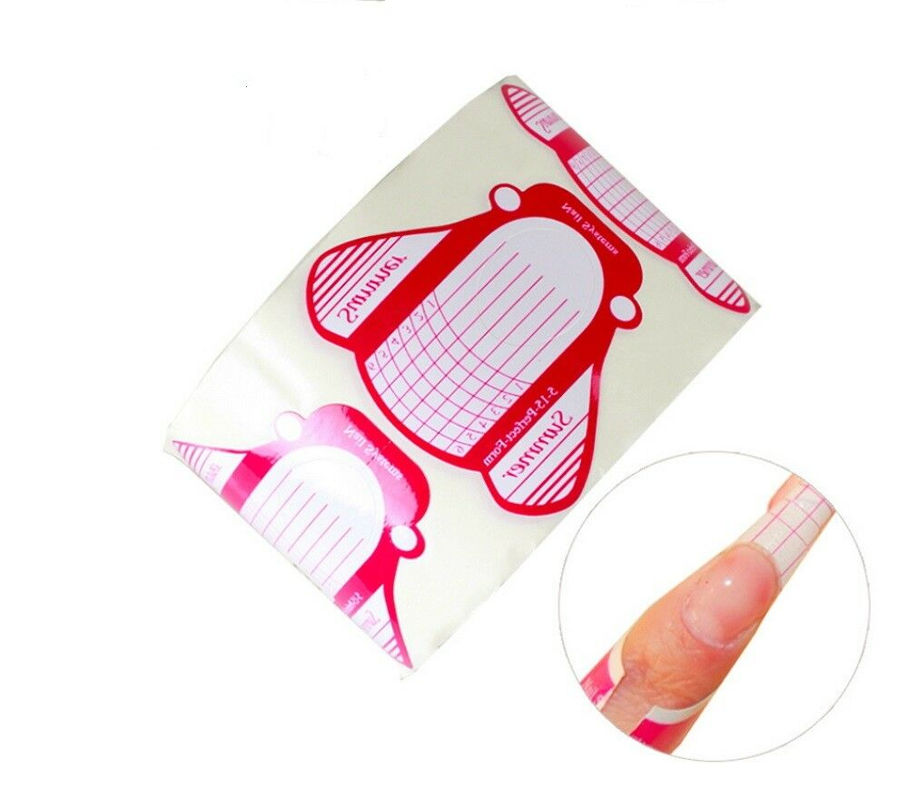 100Pcs Nail Art Tips Extension Forms Guide French DIY Tool Acrylic UV Gel Gel Nail Polish