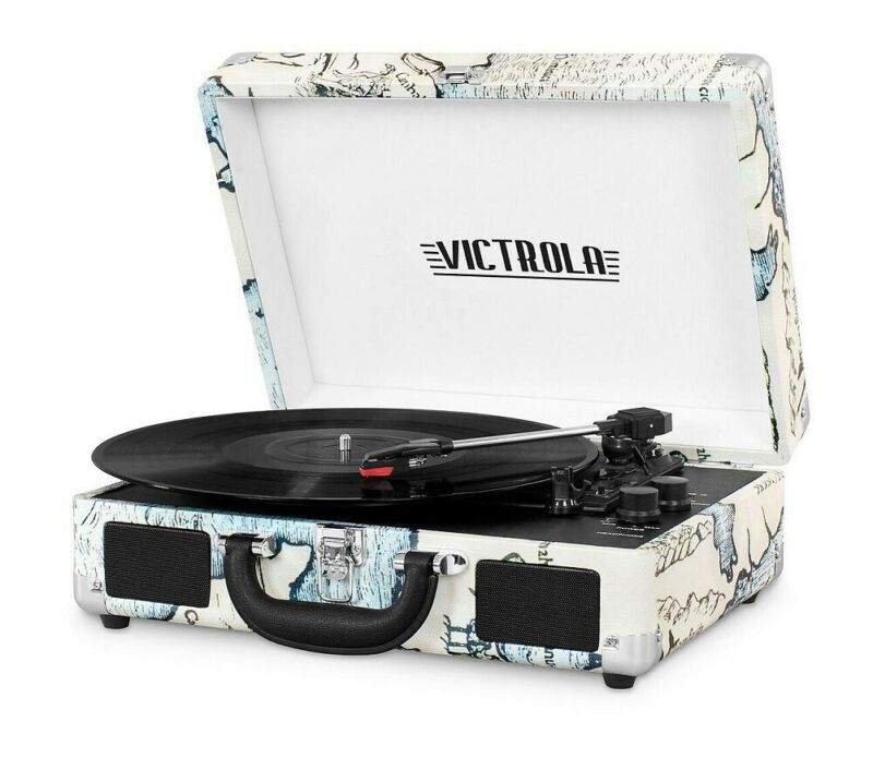 Portable Victrola Suitcase Record Player with Bluetooth and 3 Speed Turntable Re