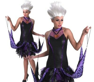 Ladies Disney DELUXE SASSY URSULA Little Mermaid Fancy Dress Costume Halloween