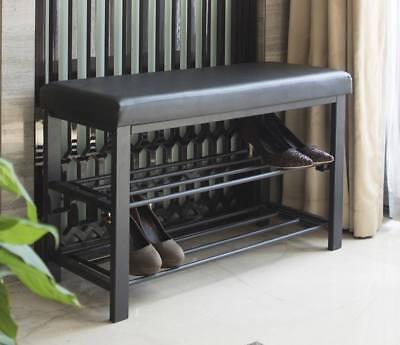 Entryway Shoe Rack Shelf Storage Wooden Bench Organizer Hallway Seat Closet New