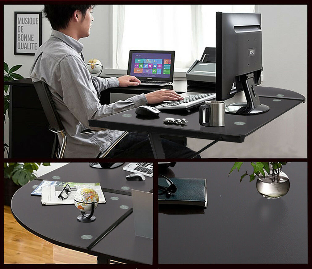 New L Shaped Desk Office Computer Glass Corner Desk With Keyboard Tray Furniture
