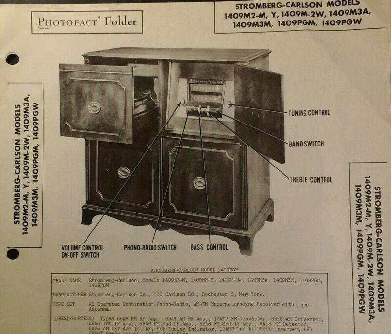 Photofact Folder Sams Tech Info Vtg 1949 Stromberg Carlson 1409 Record Radio