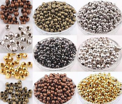 Wholesale Metal Round Spacer Beads Gold Silver Bronze Copper Black 2/3/4/5/6/8mm