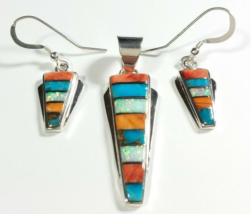 925 STERLING SILVER SPINY OYSTER TURQUOISE OPAL EARRINGS & PENDANT MATCHING SET