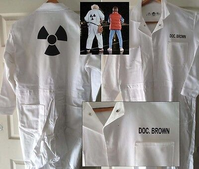 BACK TO THE FUTURE DOC BROWN Hi Quality Radiation JUMPSUIT COSTUME Halloween](Radiation Halloween Costume)