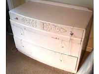 Lot of 7 vintage furniture for upcycling projects table chest drawers etc