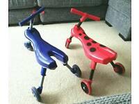 2x Mookie Scuttlebug folding trike/ scooters £10 each