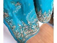 Asian Women Party Dress, size XS/S, 3-piece, heavily embroidered dupatta Heavy embroidered dupatta