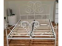 Elegant White Scroll Metal Double Bed