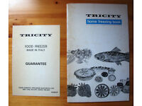 VINTAGE 1970s home freezing book/Tricity freezer model 6133 freezer guarantee card.Can post. £2 both