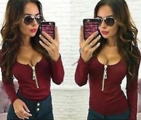 New Fashion Women Sexy Deep V Neck Long Sleeve Zipper Casual T-shirt Top Blouse