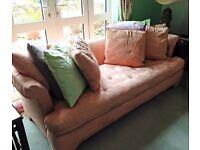 Gorgeous Peach Woven Watermark Effect Sofa & Matching Tub Armchair with 8 x 50 x 50cm cushions
