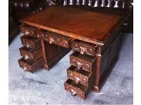Heavily carved Green man Victorian oak pedestal desk