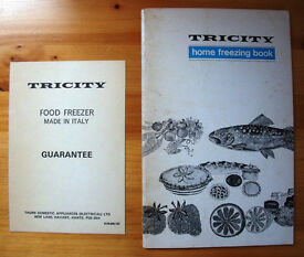 Vintage (1970s?)Tricity home freezing book & Tricity freezer model 6133 freezer guarantee card.