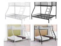 furniture for home-Trio Sleeper Metal Bunk Bed Frame in Mattress Options