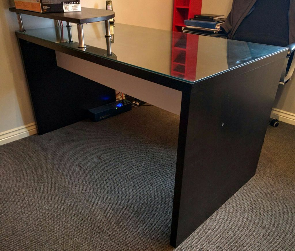 Ikea mikael desk black glass top in basingstoke hampshire gumtree - Glass office desk ikea ...