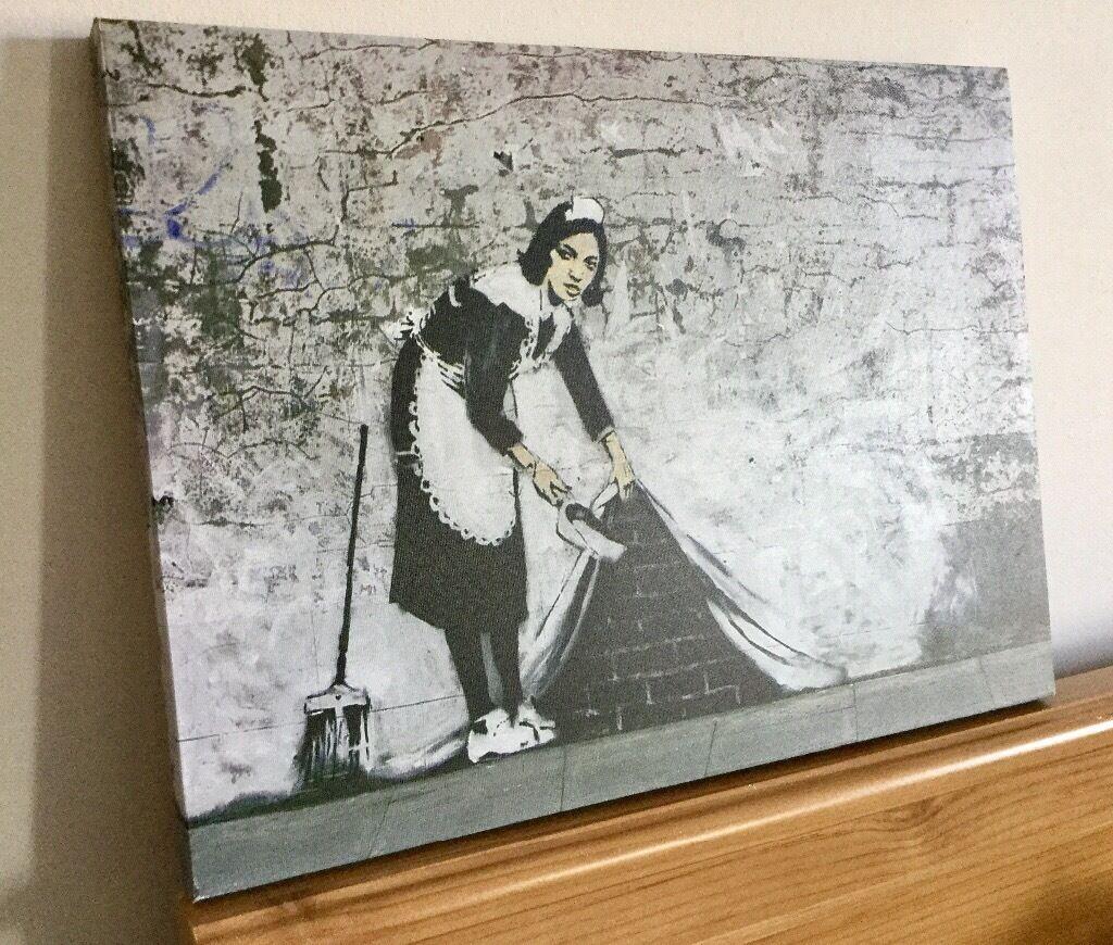 Graffiti art on wood - Banksy Pop Art Wood On Canvas Print Sweeping It Under Carpet Graffiti Art