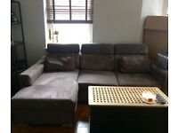 L Shaped Sofa Bed with Storage L-shape Grey Right Side