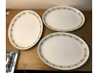 Vintage Metallised Bone China Oval Serving Plates x 3