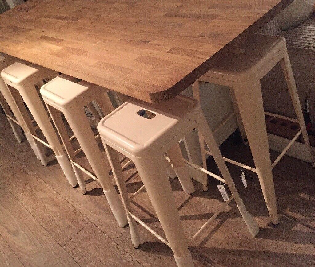 6 Cream Naples bar stool vintage style BNWT