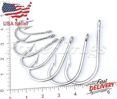 Big Hook Fishing (10Pcs Stainless Steel 7732 Type Fishing Hooks Big Game Tuna Bait Strong Hook)