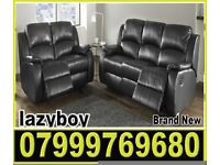 sofa black real leather recliner