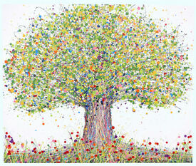 VERY LARGE NEW ABSTRACT GREEN OAK TREE & POPPIES MODERN ART PAINTING ON BOX CANVAS | Free Delivery